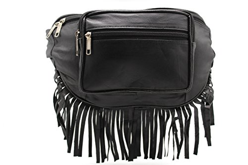 Genuine Leather Fur Boho Red Indians Fringe Fanny Pack / Hip Pouch - Leather North Beach