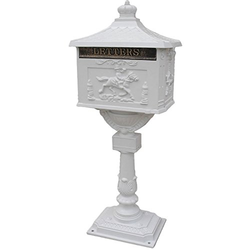 Pedestal Cast - Goplus Mailbox Cast Mail Box Postal Box Security Aluminum Post/pedestal Heavy Duty (white)