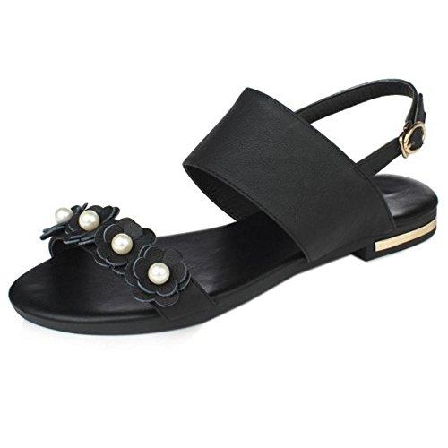 COOLCEPT Damen Mode-Event Knochelriemchen Sandalen Open Toe Flach Slingback Schuhe Mit Blume Schwarz