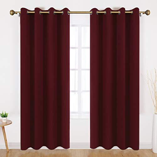 HOMEIDEAS Blackout Curtains - 2 Panels Burgundy Room Darkening Curtains/Drapes, Thermal Insulated Solid Grommet Window Curtains for Bedroom & Living Room, 52 x 95 Inches
