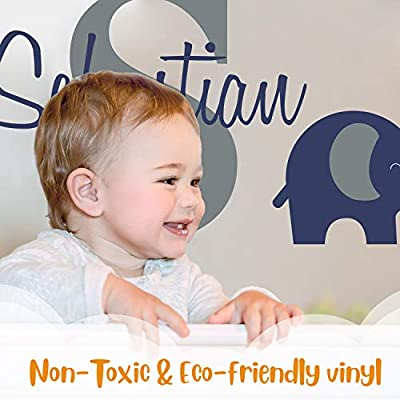 Personalized Name Elephant Animal Series - Baby Boy - Wall Decal Nursery for Home Bedroom Children (Wide 30