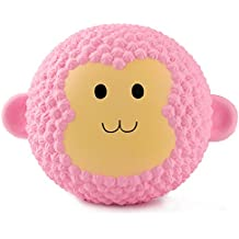 BeYumi Jumbo Cute Pink Monkey Squishy Cream Scented Slow Rising Toy Soft Cute Simulation Animal Squeeze Toys for Collection Gift, Decorative Props Large or Stress Relief