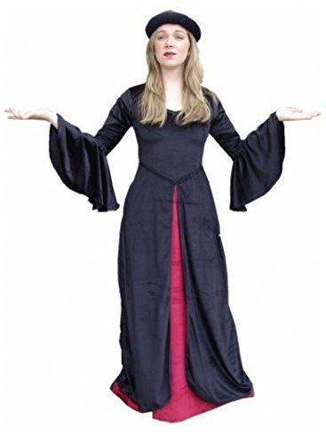 Carbone Schwarz Langes Leonardo Damen Moon Kleid Crimson Rot Gothic Vampire H8twqd1
