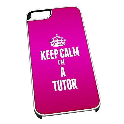 Bianco cover per iPhone 5/5S 2701rosa Keep Calm I m A tutore
