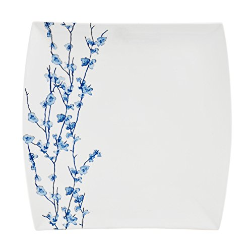 Oriental Blossom Collection, Square Platter, White/Blue