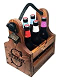 Rustic Wood Beer Caddy with Bottle Opener and Magnetic Cap Catch - Personalized Split Monogram Gift
