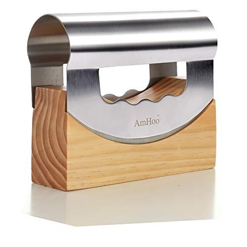 Mezzaluna Chopper Mezzaluna Knife Stainless Steel Double Blade with Protective Wooden Storage Holder by AmHoo