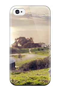 Case Cover Girl Whit Long Hair In A Beautiful Landscape Nature Grass Green Soft Light People Women/ Fashionable Case For Iphone 4/4s