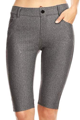 ICONOFLASH Women's Gray Plus Size Bermuda Shorts XL - Pull On Knee Length Jeggings Pockets Jean Leggings X-Large (Leggings Denim Grey)