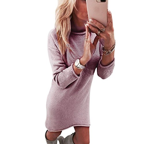 Dressin Women's Sexy Sweater Dress Solid Crewneck Long Shirt Casual Long Sleeve Pullove Mini Dress (Pink, L)