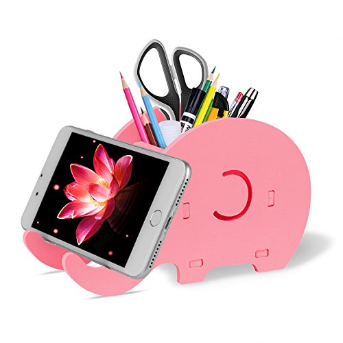 Cell Phone Stand, Cute Elephant iPhone Stand Tablet Desk Bracket with Pen Pencil Holder for Tablet Nintendo Switch iPad, Smartphone iPhone X 8 7 6 6s Plus SE 5 5s Samsung LG Google, Made by Fynix