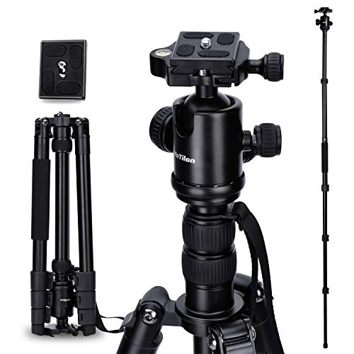 "YoTilon Camera Tripod 64"" Aluminum Tripod Monopod 360 Degree Ball Head with Two 1/4 Screw Fast Quick Release Plates for Canon Nikon Sony Samsung Olympus Panasonic & Pentax Travel Work"