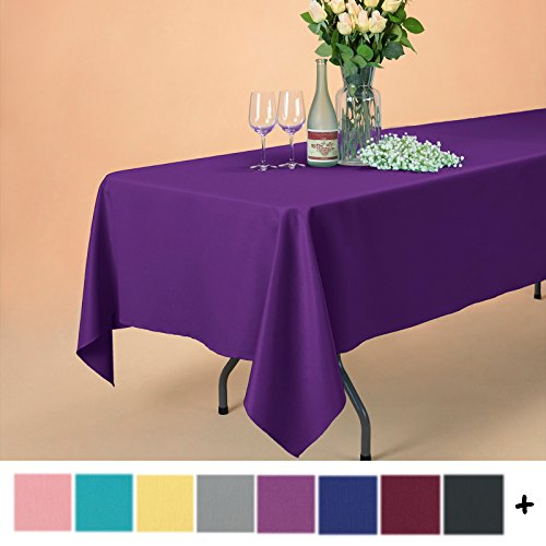 Remedios 60 x 102-inch Rectangle Polyester Tablecloth Table Cover - Wedding Restaurant Party Banquet Decoration, - Rectangle Purple