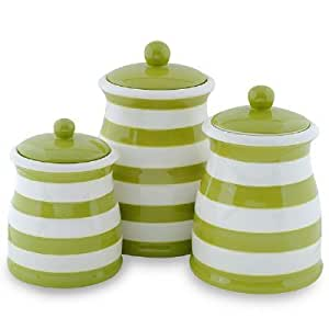 green canister sets kitchen amazon com green white stripe ceramic canister set kitchen tool sets kitchen dining 3041