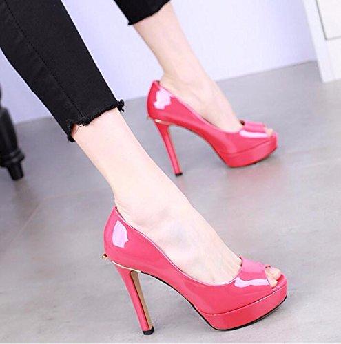 KPHY High 12Cm Fish Fashion Shoes Skin Lacquer Single Sexy Fine Heel Waterproof Mouth Women'S Heel Shoes gules Shoes Platform rtqgxBrwn
