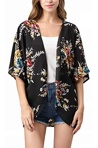 - RJXDLT Womens Floral Print Kimono Cardigan Loose Puff Sleeve Cardigans Patchwork Cover Up Blouse Top Black S 220