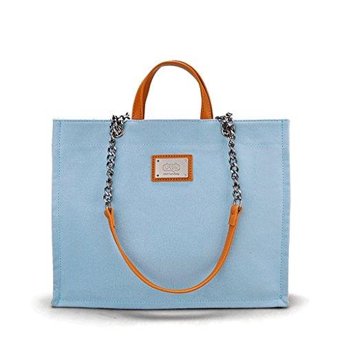 Great St. DGF Nuevo Bolso de Lona del Arte Coreano del Verano, Bolso de Hombro, Bolso Diagonal Simple, Bolso de la Señora. (Color : Blanco) Azul