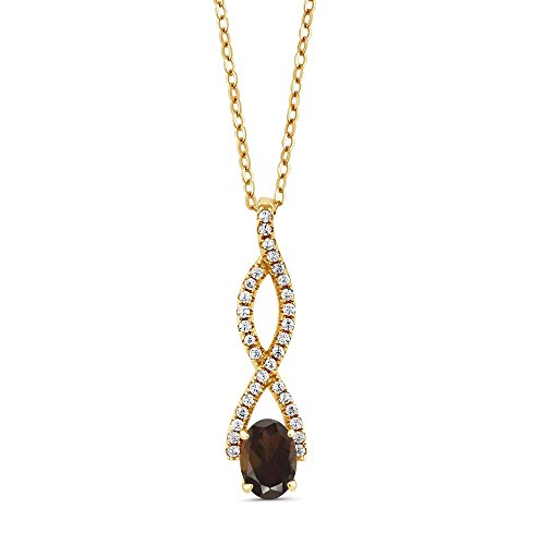 1.13 Ct Oval Brown Smoky Quartz 18K Yellow Gold Plated Silver Infinity ()
