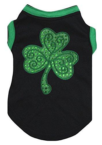 Petitebella Green Sequins Clover Cotton Shirt Puppy Dog Clothes (Small, Black)]()
