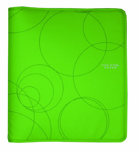 Five Star Zipper Binder, 3 Ring Binder, 1.5-Inch Capacity, 13.62 x 12.12 x 2.38 Inches, Lime (72376)