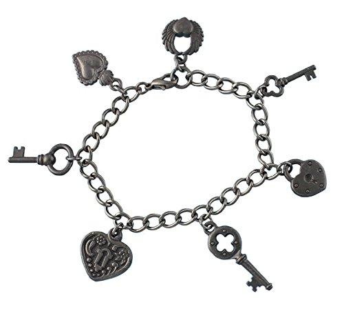 Gunmetal Black Key, Lock & Hearts Bracelet - Key To My Heart - Steampunk Gothic Romance - Size XL (8.5 Inches (Extra Large)) (Heart Bracelet Victorian Style)