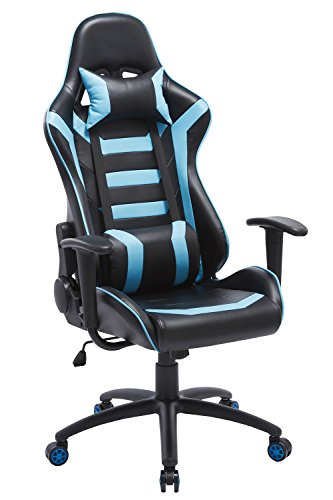 ProHT Throttle Racing Style Chair (05186A) 180 Degree High Back Adjustment Gaming Chair, Ergonomic Office Computer Swivel Chair with Fixed Armrests for Manager/Gamers/Adults/Teenager, Lake Blue/Black by ProHT