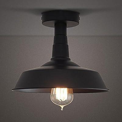 RUXUE Semi-Flush Mount Ceiling Light Industrial Vintage Style Warehouse Lighting Fixtures Black