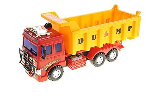 Big Dump Truck Toy for Kids - Friction Powered Construction Toy for Boys and Girls - Solid Plastic Heavy Equipment Vehicle Toy - Lift Up The Bucket - Great Car Toys Gift for Your Kids
