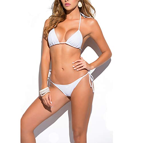 (SHERRYLO Solid Women's Thong Bikini Set (White))