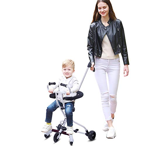 Lightweight Baby Stroller Portable Stroller with Brake and Safety System for Toddler 2-8 Years Old (White)
