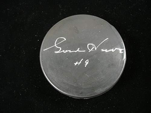 Puck Gordie Howe Autographed - Gordie Howe Autographed Hockey Puck - #9 BE Hologram - Autographed NHL Pucks