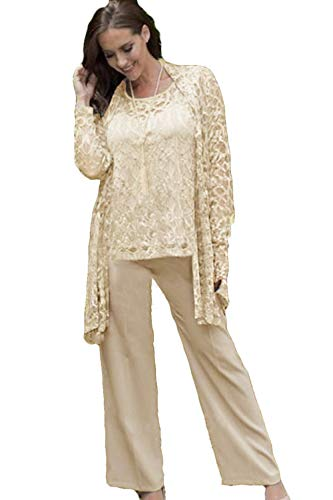 WZW Lace Mother of The Bride Pant Suits with Jackets Wedding Guest Dress Plus Size Chiffon Mothers Groom Champagne
