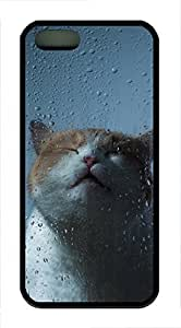 iPhone 5 5S Case Cat Against Wet Window119 TPU Custom iPhone 5 5S Case Cover Black