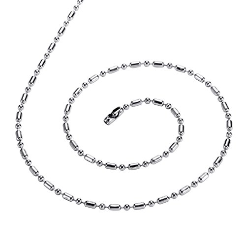 Aeici Jewelry, Stainless Steel Bamboo Chain Necklace for Men Bead Chain Silver 60cm2.4mm