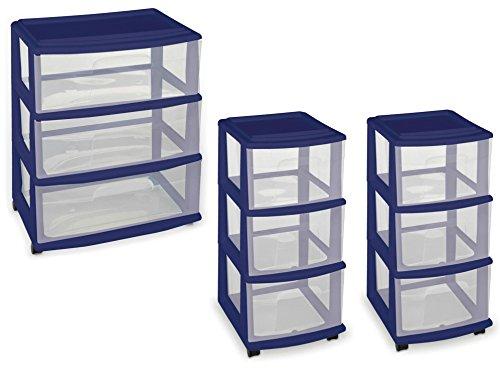 Homz 3-Drawer Wide Storage Cart and 2 -Piece Homz 3-Drawer Medium Storage Cart in Cobalt Blue (Wicker Furniture Seven Hills)