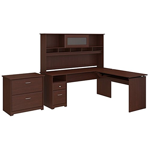 Bush Furniture Cabot 72W 3 Position L Shaped Sit to Stand Desk with Hutch and File Cabinet in Harvest - Hutch Harvest