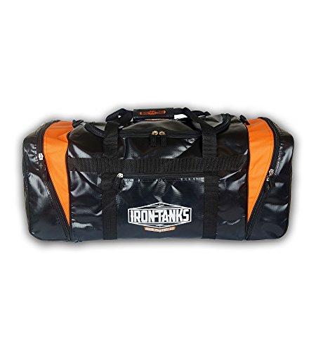 Iron Tanks Pro Tarpaulin Gym Bag Black & Orange - Powerlifting Bodybuilding Heavy Duty by Iron Tanks
