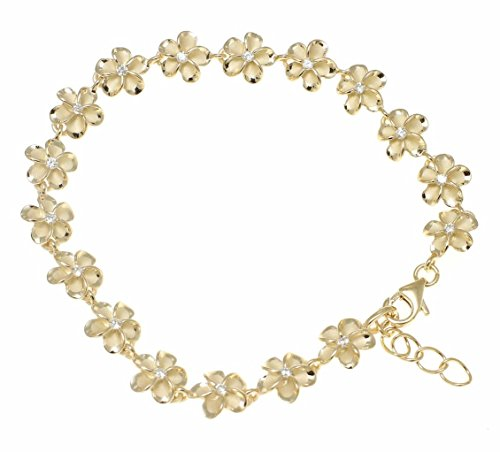 Arthur's Jewelry 925 Sterling Silver Yellow Gold Plated Hawaiian 8mm cz Plumeria Flower Bracelet - Bracelet Plumeria Hawaiian
