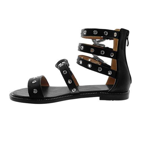 Mode Perforée Chaussure Noir 1 Femme Angkorly Bride Cheville Spartiates 5 Bloc Sandale Multi cm Talon Boucle Lanière 4Hw8xq58B