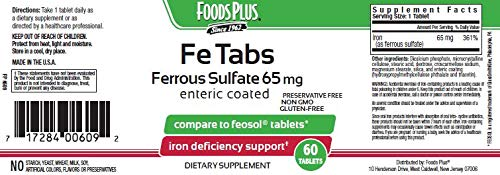 Foods Plus FE Tabs Ferrous Sulfate for Iron Formula by Foods Plus (Image #2)