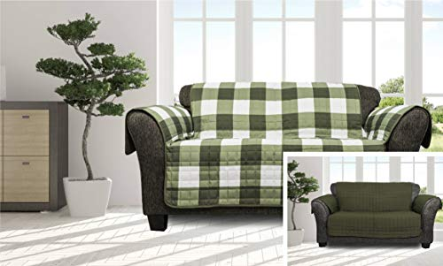 (Quick Fit - The Original Plaid Gingham Checkered Reversible Water Resistant Furniture Cover for Dogs, Kids, Pets Sofa Slipcover for Couch, Recliner, Loveseat or Chair (Loveseat: Sage Green))