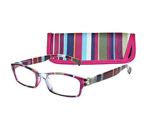 ICU Wink Purple Stripe Women Rectangular Reading Glasses, (+2.00) ()