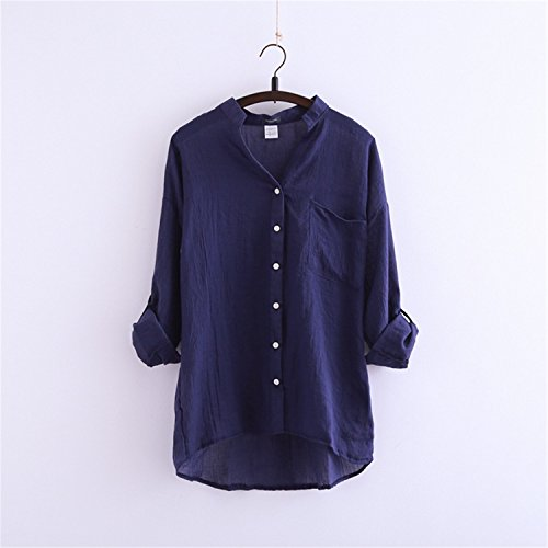 Oyster Linen Shade - S-2XL Summer Style Sun Protection Clothing Small Fresh Cotton Loose Three Quarter Female Linen Shirt Collar Sleeve blue S