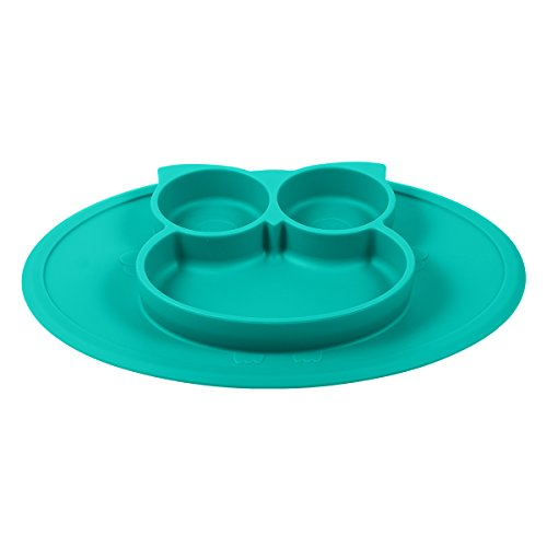 Silicone Mini Placemat - Baby Plate - Toddler Feeding Mat by Hanfeng- Strong Suction Base - Portable - 100% Food Grade Silicone - Fits Most highchairs, Microwave and Dishwasher Safe (Green) by Hanfeng (Image #1)