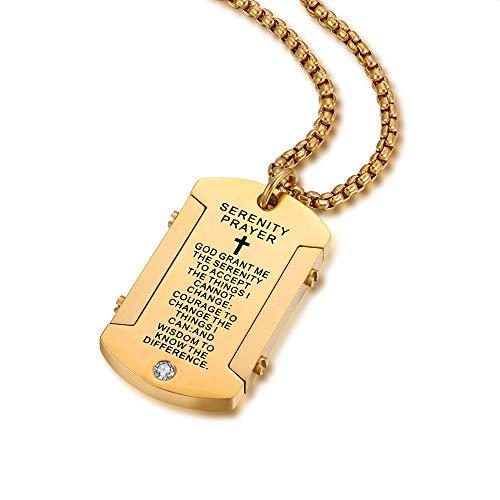 JHoly メンズ ステンレススチール ドッグタグ ペンダント ニーバーの祈り ネックレス 神の刻印 物を受け入れる静けさ
