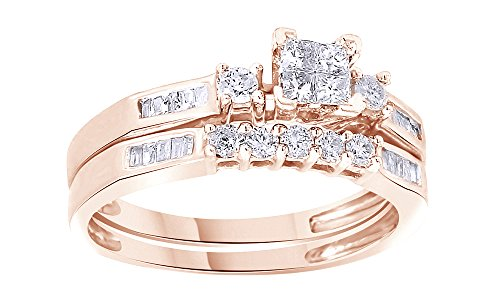 White Natural Diamond Engagement and Wedding Bridal Ring Set in 14k Rose Gold Over Sterling Silver (0.43 Cttw) by Jewel Zone US