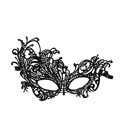 Black Cotton Lace Venetian Masquerade Eye Mask Fancy Dress Costume Accessory