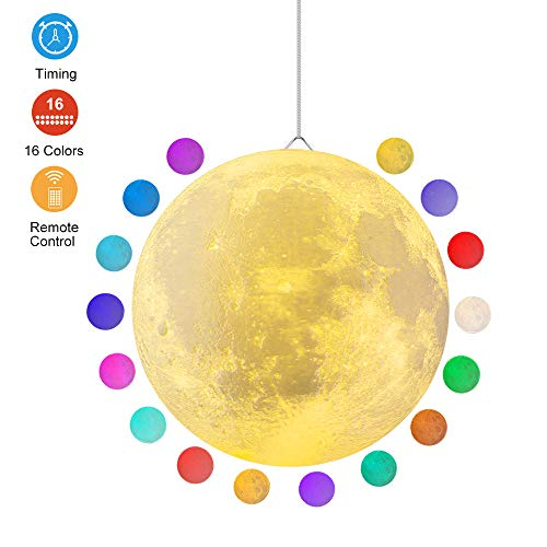 - Super Large Moon Lamp with Time Setting and Stand 3D Print LED 16 Colors Hung Up Decorative Luna Lights for Birthday Party Kids Christmas Gifts, Graduation July 4th Decorations (9.6 inch)