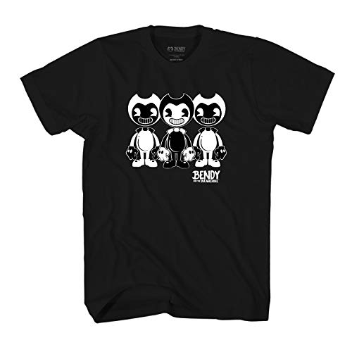 Boys Ink - Bendy and the Ink Machine Shirt - Official Bendy T-Shirt - Black and White Bendy Boys T-Shirt (Black, Large)