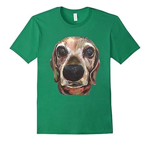 Mens Weiner Dog Dachshund Original Art T-Shirt Medium Kelly Green - Weiner Green T-shirt